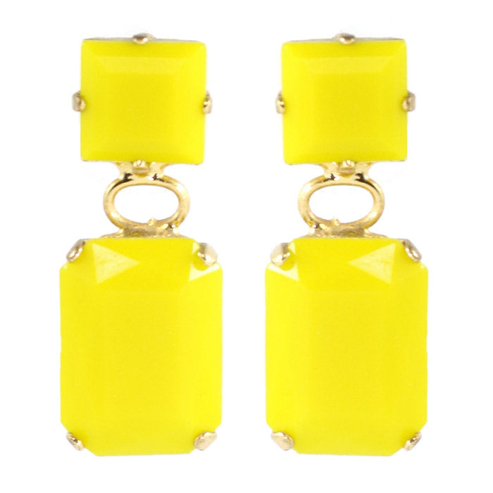 Harlequin Market Austrian Crystal Earrings - Yellow - Gold (Pierced)