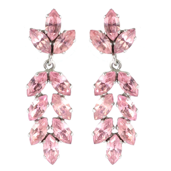 Harlequin Market Austrian Crystal Drop Earrings - Light Rose (Pierced) Copy