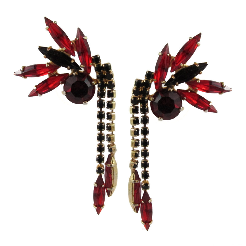 Harlequin Market Austrian Crystal Earrings - Siam - Jet - Gold (Pierced)
