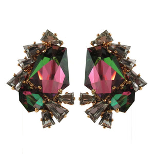 Harlequin Market Crystal Earrings - Reflective
