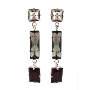Harlequin Market Crystal Earrings - Clear + Black Diamond + Mocca