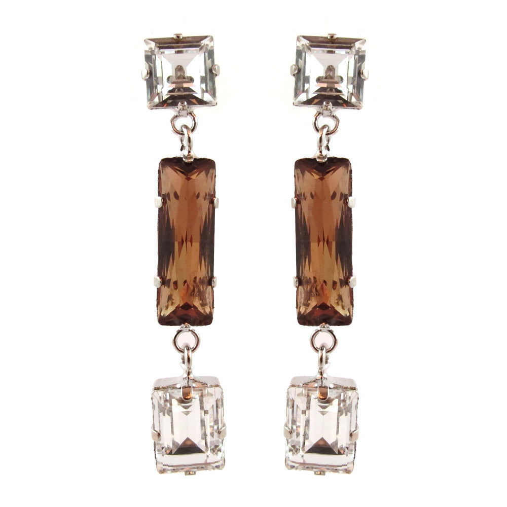 Harlequin Market Crystal Earrings - Clear + Crystal Copper