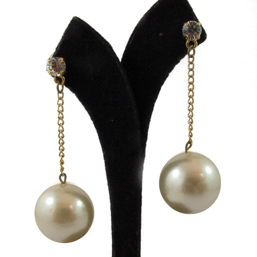 Harlequin Market | HQM faux pearl and Austrian crystal drop earrings - goldtone