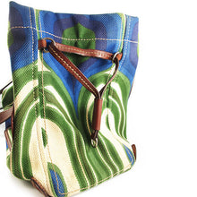 Load image into Gallery viewer, Pre Owned Miu Miu Retro Inspired Green, Blue and Tan Leather Bag c. 1990