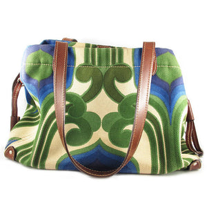 Pre Owned Miu Miu Retro Inspired Green, Blue and Tan Leather Bag c. 1990