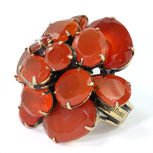 Load image into Gallery viewer, Signed 'Iradj Moini' Carnelian Flower Ring