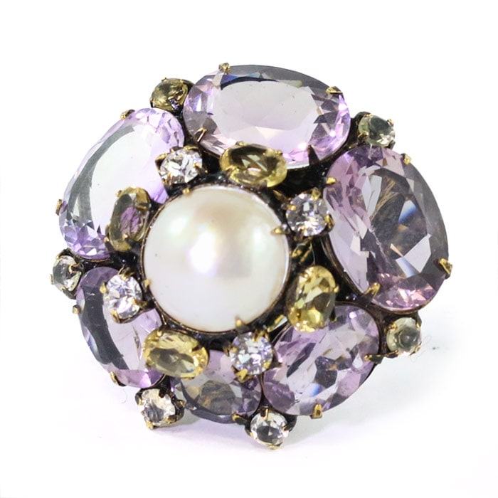 Signed Iradj Moini Amethyst and Pearl Ring