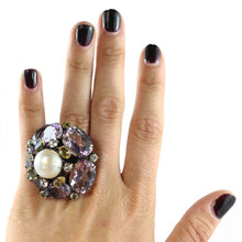 Load image into Gallery viewer, Signed Iradj Moini Amethyst and Pearl Ring