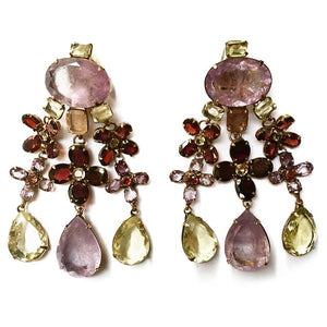 Signed 'Iradj Moini' Amethyst and Garnet Drop Earrings