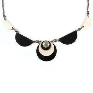 Vintage 1930's Jakob Bengel Necklace - Black & white Galalith and Chrome