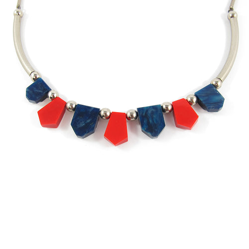 Vintage 1930's Jakob Bengel Necklace - Red and Blue Galalith and Chrome