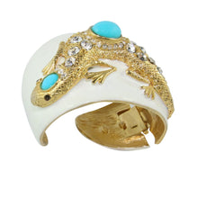 Load image into Gallery viewer, Signed KJL Creme Enamel - Crystal - Turquoise Cabochon Kenneth Jay Lane Lizard Hinged Cuff c. 1990