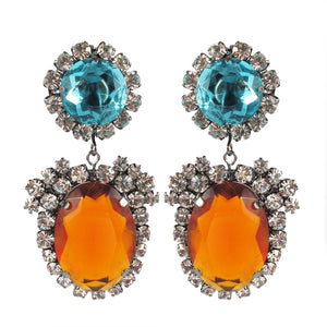 Kenneth Jay Lane KJL Signed Crystal Aquamarine and Topaz Drop Earrings