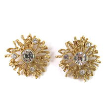 "Load image into Gallery viewer, Signed Kenneth J Lane ""K.J L for Avon"" Matte gold plated crystal earrings"