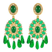 Load image into Gallery viewer, Kenneth Jay Lane KJL Signed Crystal Cabochon Emerald Chandelier Earrings