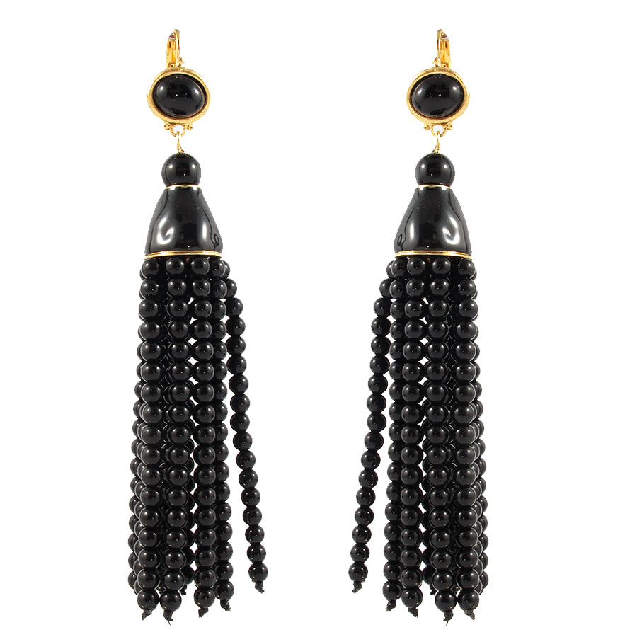 Kenneth Jay Lane KJL Signed Black Resin Tassel Earrings