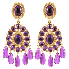 Load image into Gallery viewer, Kenneth Jay Lane KJL Signed Crystal Cabochon Amathyst Chandelier Earrings
