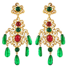 Load image into Gallery viewer, Kenneth Jay Lane KJL Signed Cabochon Ruby & Emerald Filigree Chandelier Earrings