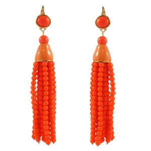 Kenneth Jay Lane KJL Signed Coral Resin Tassel Earrings