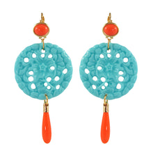 Load image into Gallery viewer, Kenneth Jay Lane KJL Signed Turquoise & Coral Resin Earrings
