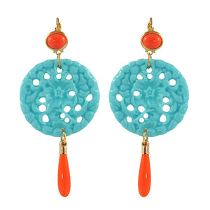 Kenneth Jay Lane KJL Signed Turquoise & Coral Resin Earrings