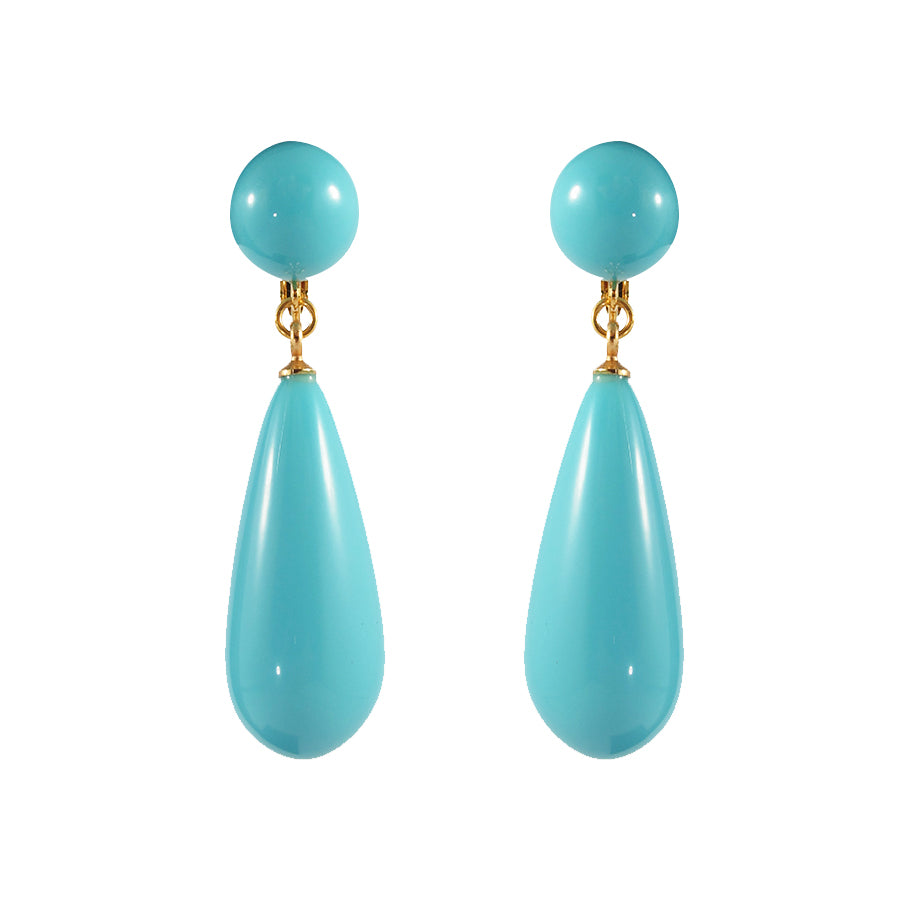 Kenneth Jay Lane KJL Signed Turquoise Resin Earrings