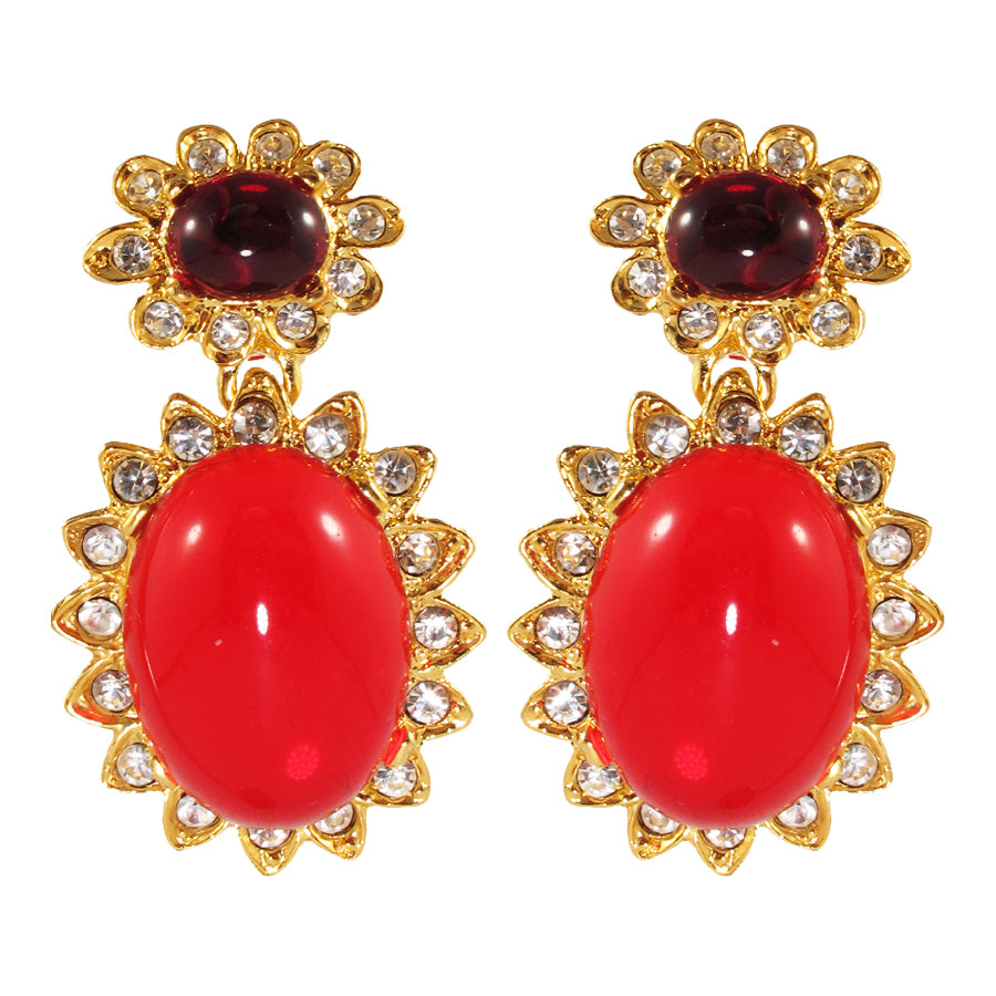 Kenneth Jay Lane KJL Signed Ruby Cabochon & Clear Crystal Earrings