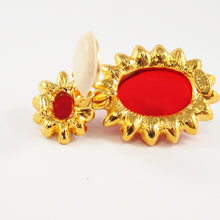 Load image into Gallery viewer, Kenneth Jay Lane KJL Signed Ruby Cabochon & Clear Crystal Earrings
