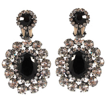 Load image into Gallery viewer, Kenneth Jay Lane KJL Signed Black & Clear Crystal Drop Earrings- (Clip-On Earrings)