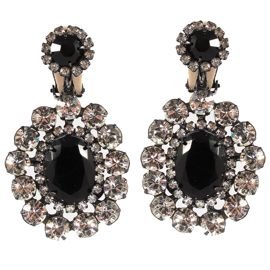 Kenneth Jay Lane KJL Signed Black & Clear Crystal Drop Earrings- (Clip-On Earrings)