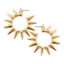 Load image into Gallery viewer, Kenneth Jay Lane KJL Gold Tone Spiked Hoop Earrings