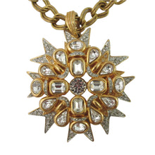 "Load image into Gallery viewer, Signed Kenneth J Lane ""K.J L"" Matte gold plated crystal star burst pendant - c.1970"