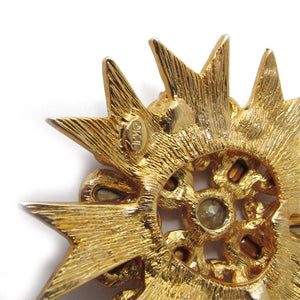 "Signed Kenneth J Lane ""K.J L"" Matte gold plated crystal star burst pendant - c.1970"