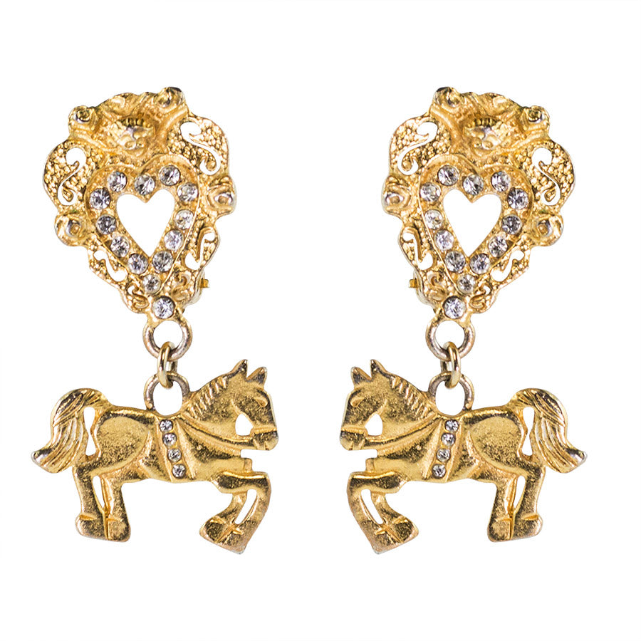 Christian Lacroix Vintage Rare Baroque Heart and Horse Earrings c. 1980