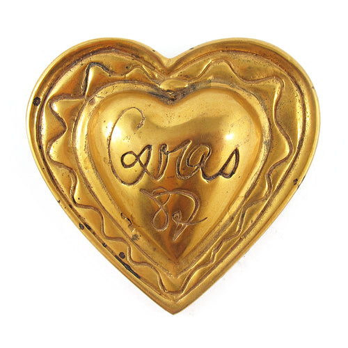 Signed Vintage Christian Lacroix Gold Tone Logo Heart Brooch c. 1990