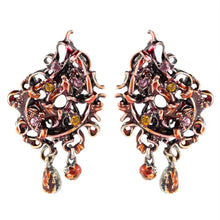 Load image into Gallery viewer, Christian Lacroix Signed Vintage Intricate Enamel Rhinestones Earrings c. 1980 - (Clip On Earrings)