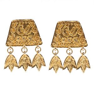 Christian Lacroix Signed Vintage Gold Tone Dangle Earrings c. 1980- (Clip-On Earrings)