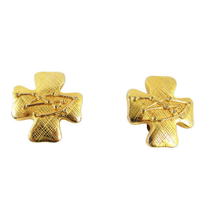 Signed Christian Lacroix striped cross clip on earrings - c. 1980's