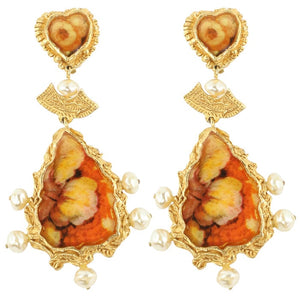 Christian Lacroix Signed Vintage Orange Enamel, Gold Tone, Pearl Drop Earrings c.1990 - ( Clip-On Earrings)