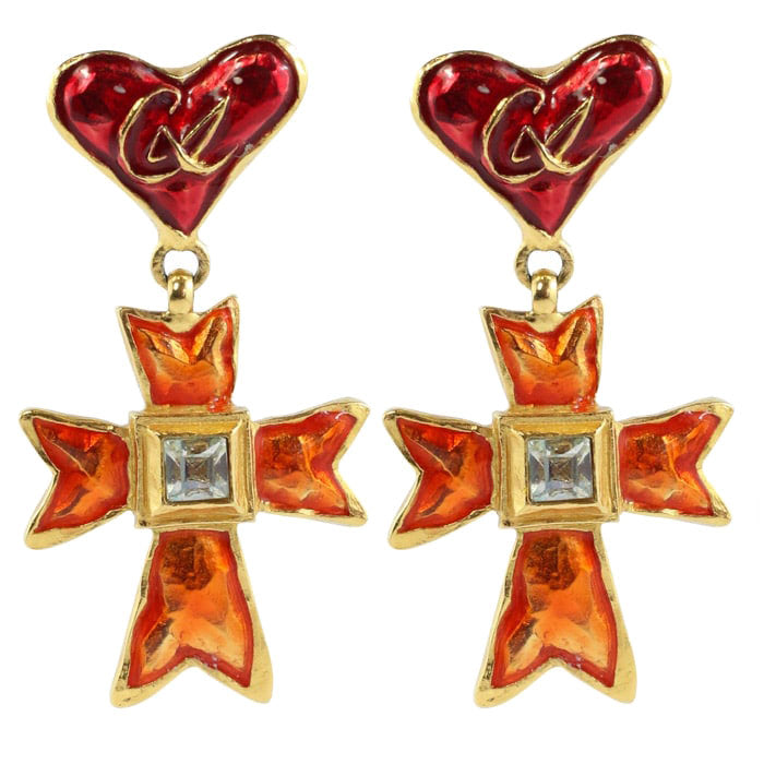 Christian Lacroix Signed Vintage Orange, Red Enamel Cross Earrings c.1990 - ( Clip-On Earrings)