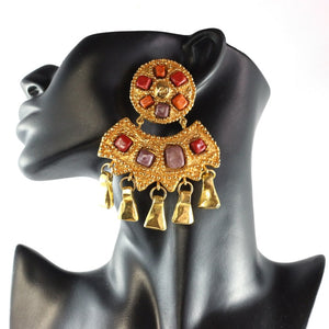 Christian Lacroix Signed Vintage Huge Coloured Glass, Etruscan Gold Tone Multi Drop earrings c. 1990 - (Clip-On Earrings)