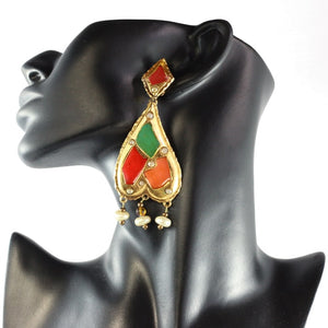Christian Lacroix Signed Vintage Harlequin Enamel Pearl Gold Tone Earrings c.1990- (Clip-On Earrings)