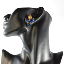 Load image into Gallery viewer, Christian Lacroix Signed Vintage Blue Enamel - Gold Plate Heart Motif Earrings c. 1980 (Clip-ons)