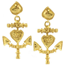 Load image into Gallery viewer, Christian Lacroix Signed Vintage Gold Tone Heart & Anchor earrings c.1990- (Clip-On Earrings)