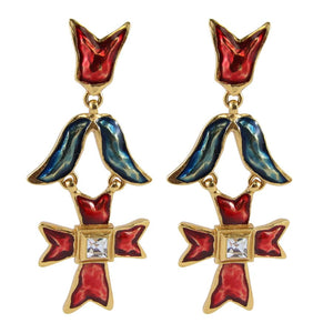 Christian Lacroix Signed Vintage 1990s Red & Blue Enamelled Cross Design Statement Earrings (Clip-on)