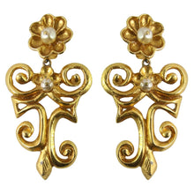 Load image into Gallery viewer, Christian Lacroix Signed Vintage Gold-tone Swirl & Flower Statement earrings c.1990 (Clip-on)