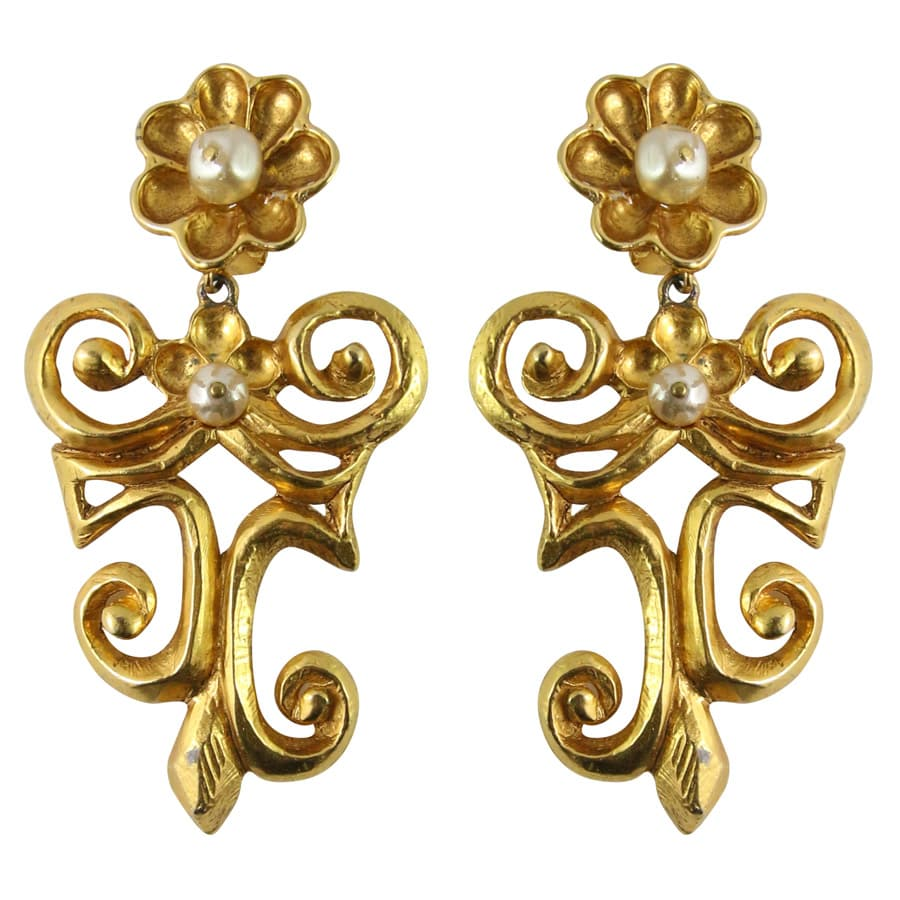 Christian Lacroix Signed Vintage Gold-tone Swirl & Flower Statement earrings c.1990 (Clip-on)