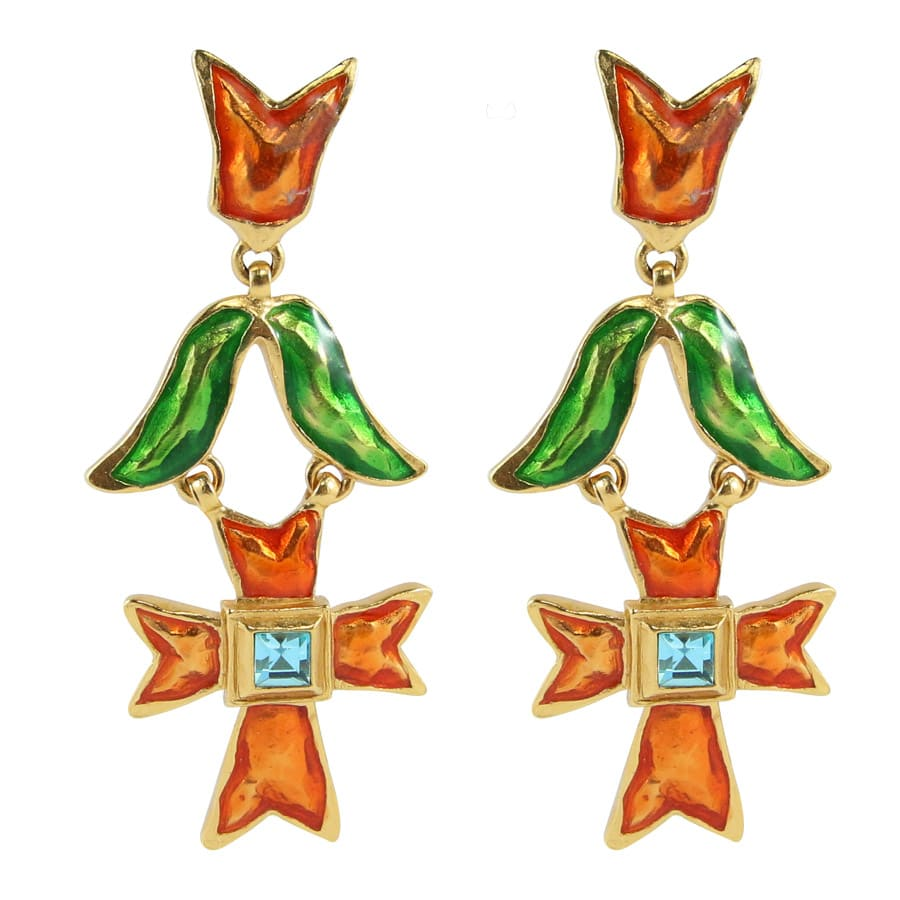 Christian Lacroix Signed Vintage 1990s Orange & Green Enamelled Cross Design Statement Earrings (Clip-on)
