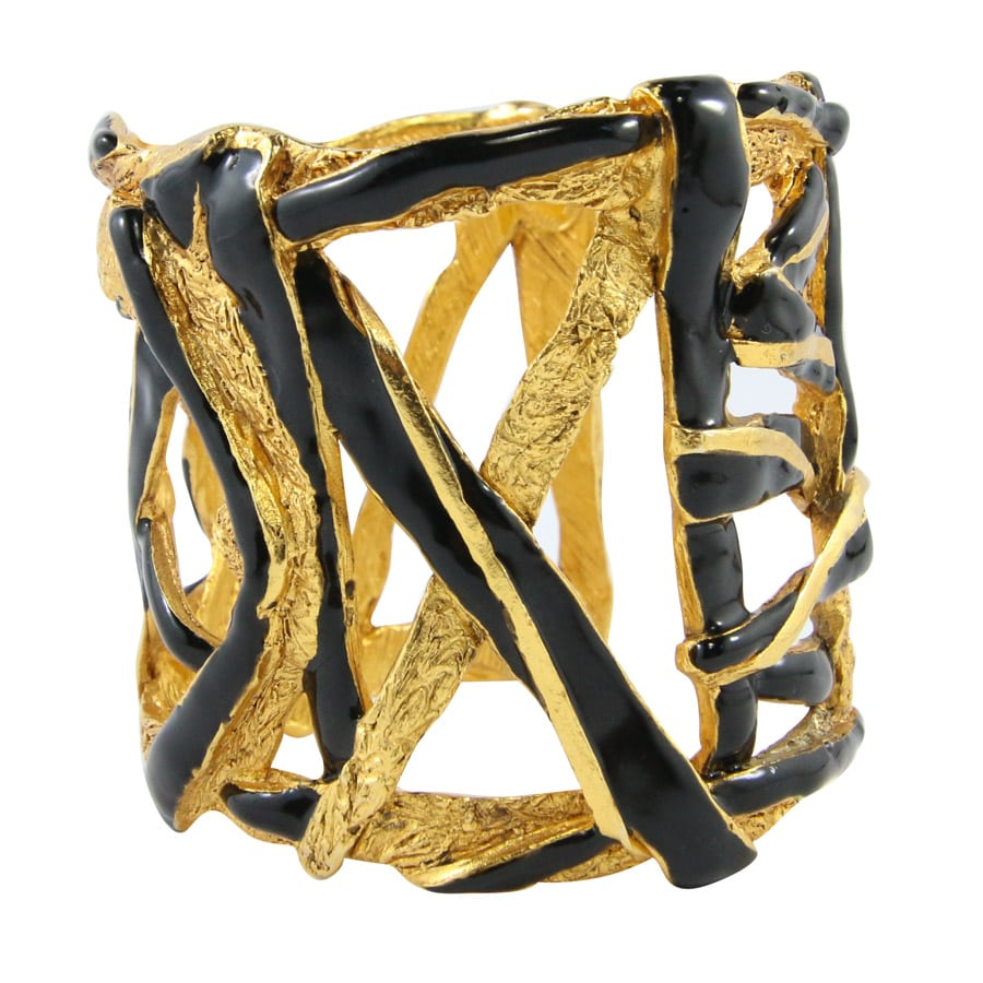 Christian Lacroix Signed Vintage Beaten Gold & Black Enamel Cross Over Cuff c. 1990s
