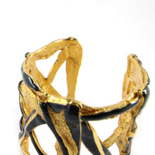 Load image into Gallery viewer, Christian Lacroix Signed Vintage Beaten Gold & Black Enamel Cross Over Cuff c. 1990s